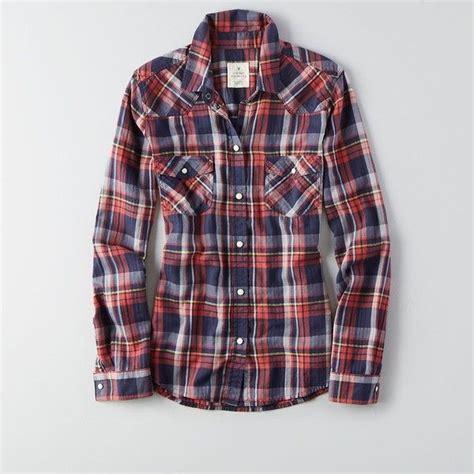 Plaid Shirt By American Eagle american eagle plaid boyfriend shirt featuring polyvore