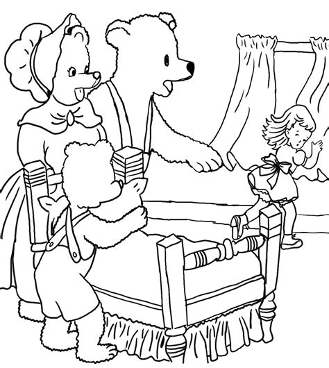 Free Goldilocks Apple Coloring Pages The Three Bears Coloring Pages