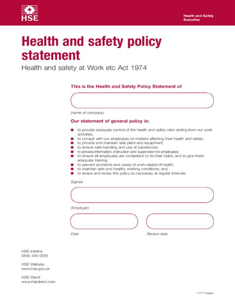 health and safety policy statement template free download