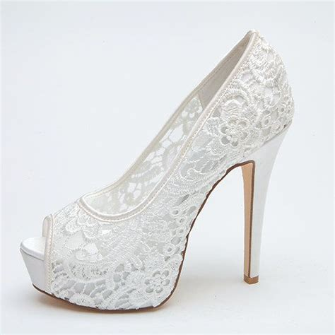 White Bridal Heels by See Through Lace Bridal Wedding Shoes Platform Peep