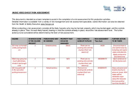 food safety risk assessment template risk assessment