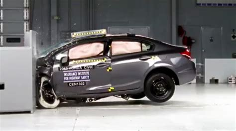 crash test honda civic dominates iihs small car crash tests photos