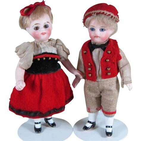 A Place Dolls Fabulous 4 Quot Pair Kling Quot 31 9 Quot All Bisque Dolls With Factory Original A Place Dolls