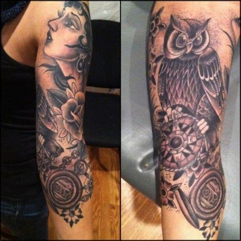 quarter sleeve owl tattoo 36 owl sleeve tattoos golfian com