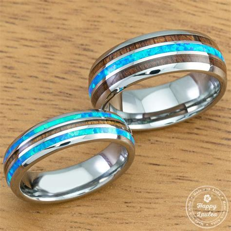 pair of 6 8mm width tungsten wedding band ring set with