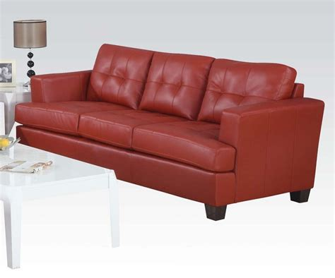 red bonded leather sofa red bonded leather platinum couch sofa