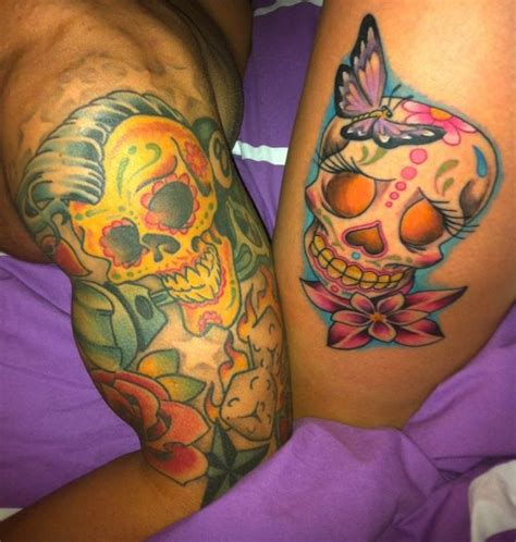 his and hers skull tattoos his and sugar skull oldscool cool