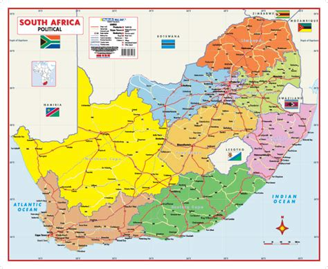 south africa map south africa political wall map mapstudio