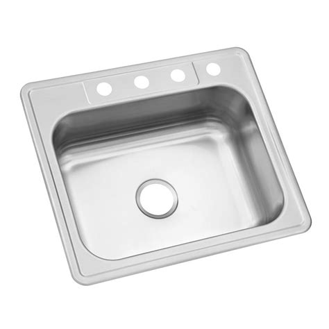 Glacier Bay Drop In Stainless Steel 25 In 4 Hole Single Single Kitchen Sinks