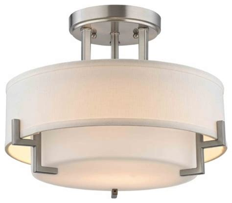 modern ceiling light with white glass in satin nickel