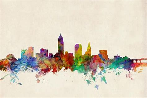watercolor tattoos cleveland cleveland ohio skyline watercolors awesome and ohio