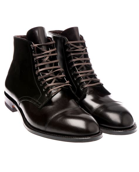 alden lace up cordovan boots in brown for burgundy