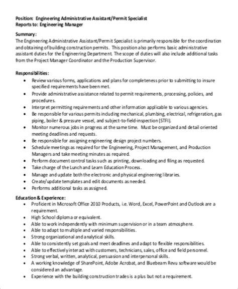 section engineer job description assistant engineer job description sle 8 exles in pdf