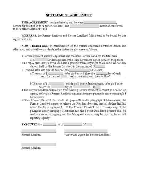 Settlement Agreement Letter Template Debt Settlement Agreement Form 3 Free Templates In Pdf Word Excel