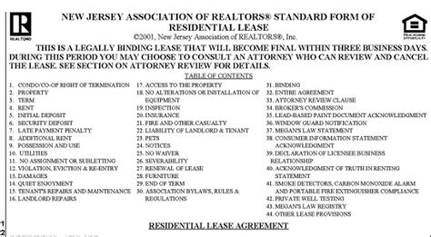 Apartment Application In Nj What To Look For In A Rental Lease Agreement In Nj