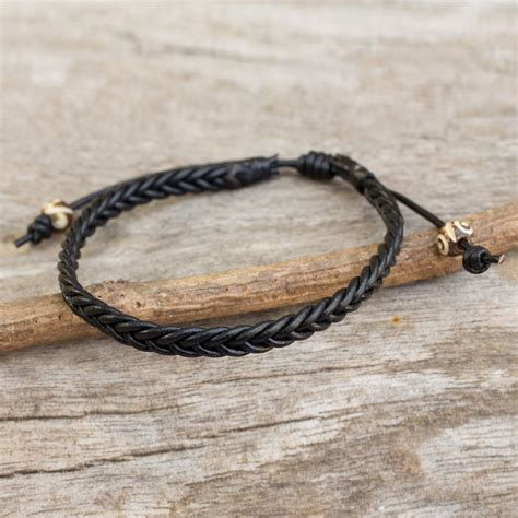 Handmade Mens Braided Leather Bracelets - s braided leather bracelet single black braid the