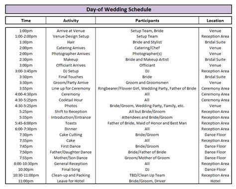 wedding day timeline template cyberuse