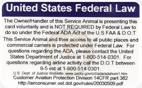 service dogs in laws ada federal service card