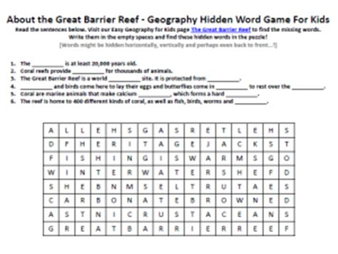 Coral Reef Worksheets For by The Great Barrier Reef Worksheet Free Word Searches For