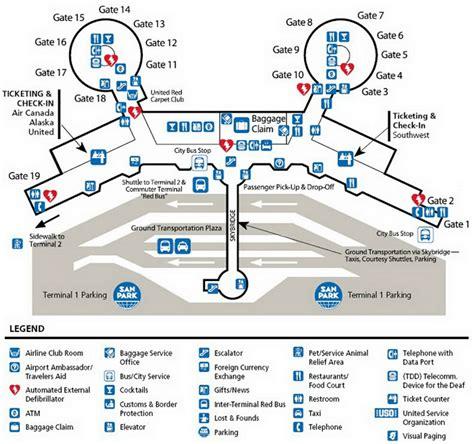 san jose international airport parking map san diego airport terminal map images