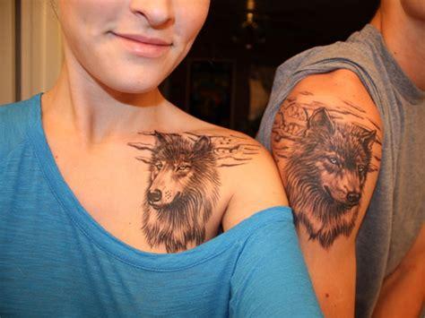Couple Tattoo Wolf | realistic wolf couple tattoos tattoo tetov 225 n 237