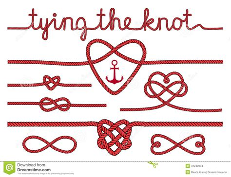 Wedding Knot by Rope Hearts And Knots Vector Set Stock Vector