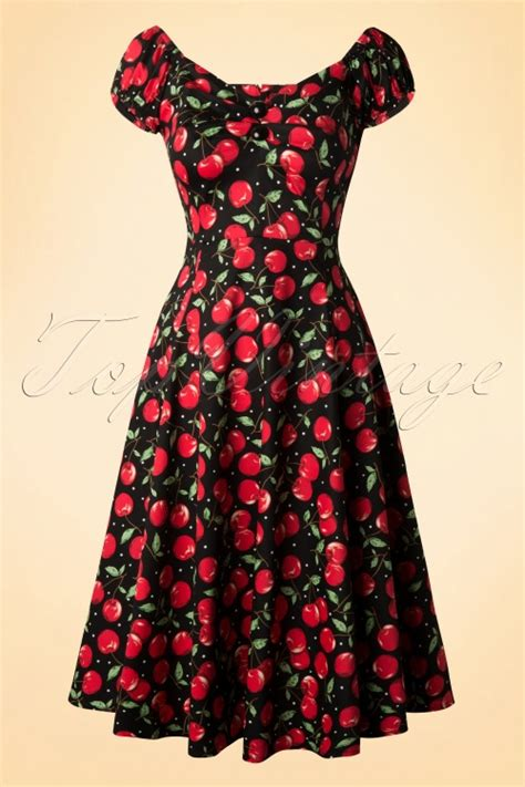 50s dolores cherry polkadot doll swing dress
