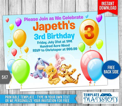 winnie the pooh birthday invitation by templatemansion on