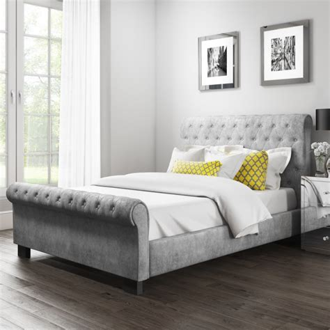 grey sleigh bed safina roll top kingsize sleigh bed in grey velvet