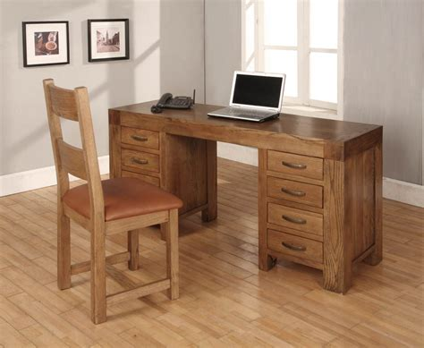 heritage solid oak large computer desk study table home