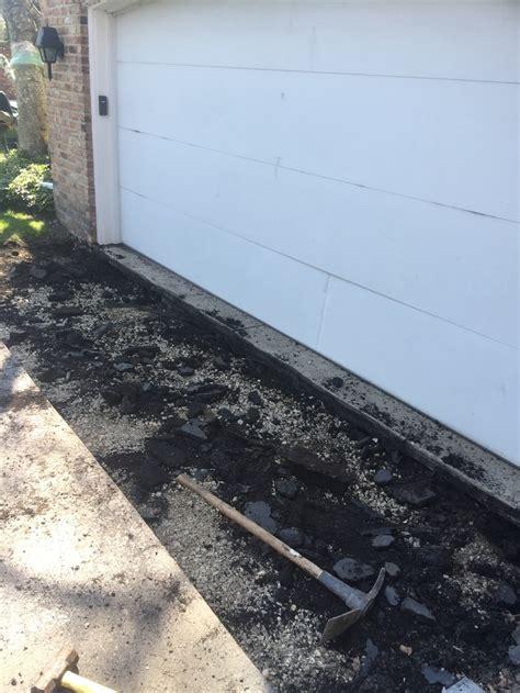 Driveway Garage Transition by Garage R Patchwork Hardtop Asphalt Sealing Inc
