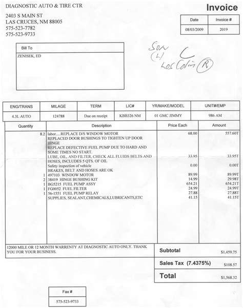 truck repair receipt template auto repair shop invoice invoice template ideas