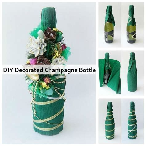 home made decoration pieces diy decorated chagne bottle diy crafts and ideas