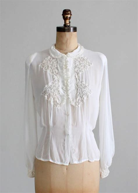 006 Yoke Blouse vintage 1930s white rayon and lace blouse raleigh vintage