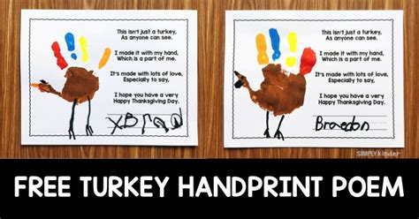 printable turkey handprint poem free turkey handprint poem simply kinder