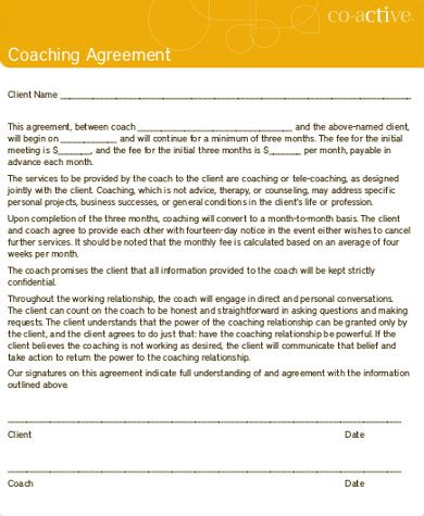 business coaching contract template sle business coaching agreement 7 exles in word pdf