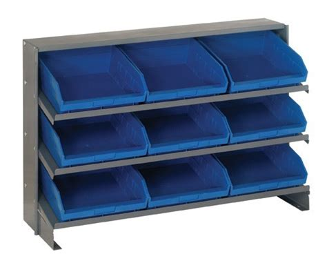 bench with storage bins sloped pick rack shelving qprha 109 bench rack with