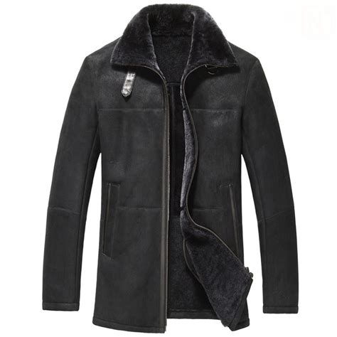 Classic Parka Sensor Series Black black shearling sheepskin leather car coat for cw833278