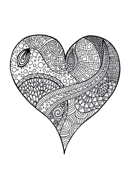 hard coloring pages of hearts heart zentangle colouring page a zentangle with no