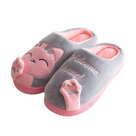 plush house slippers unisex winter cat indoor slippers warm home cozy