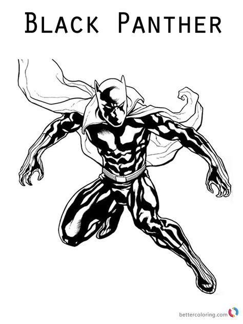color fight black panther coloring pages jumping to fight free