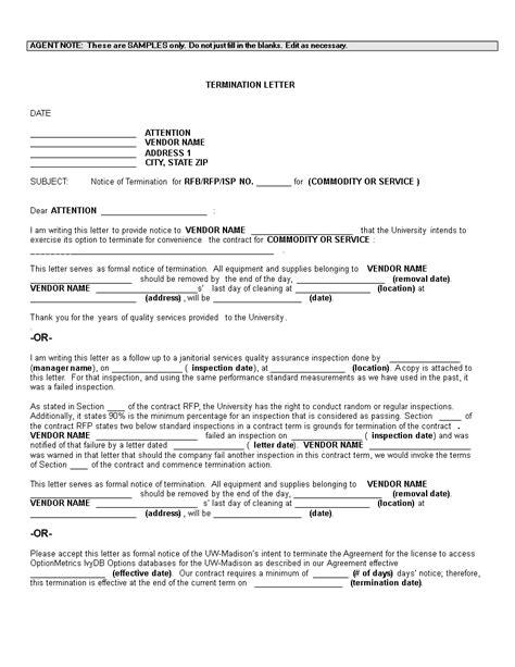vendor termination letter templates