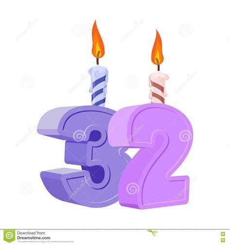 4 aos para 32 32 a 241 os de cumplea 241 os n 250 mero con la vela festiva para la torta del d 237 a de fiesta ilustraci 243 n del