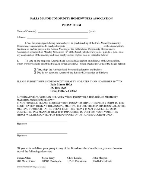 homeowners association templates homeowners association proxy form with sle pdf