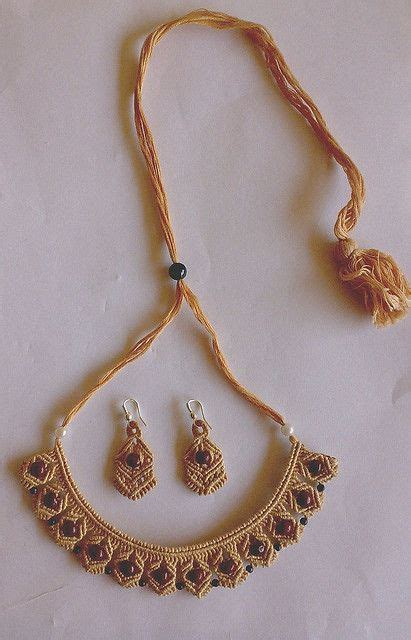Macrame Accessories - beige macrame knotted necklace earrings set by