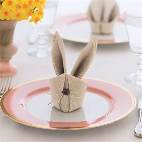 Napkin Origami - bonkers about buttons how to fold easter bunny rabbit napkins