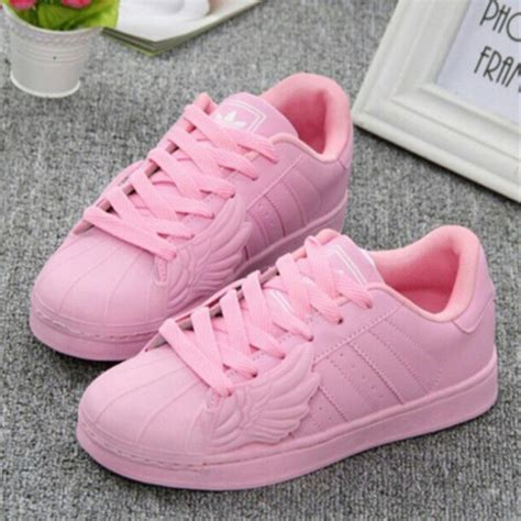 shoes pink adidas superstars adidas wings pastel pink adidas adidas originals front wings