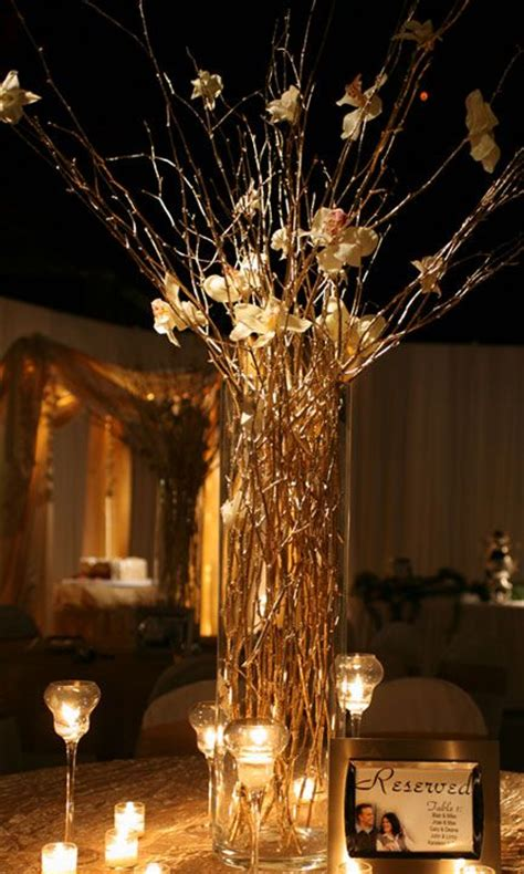 gold centerpieces gold branches golden anniversary anniversary