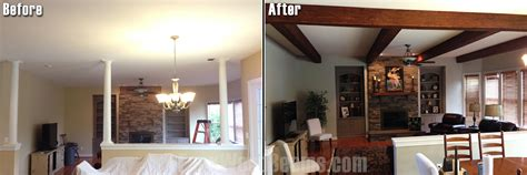 adding beams to ceiling diy interior design before and after faux wood workshop