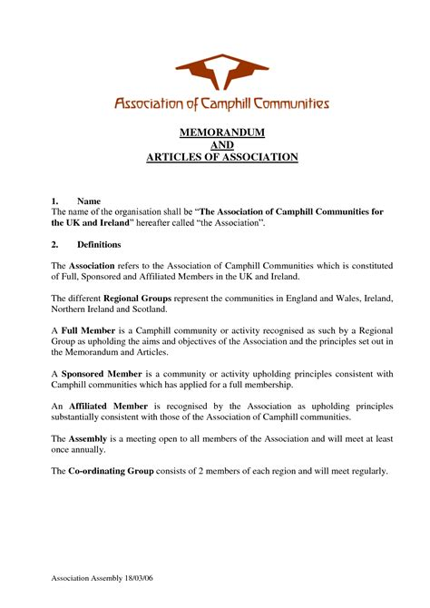 templates for articles of association memorandum and articles of association template
